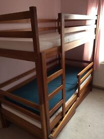 Natural pine bunk beds in very good condition