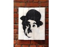 Charlie Chaplin 53 x 48cm - Real wood and handmade