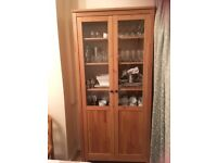 Ikea glass fronted 2 door cabinet light brown wood in perfect condition