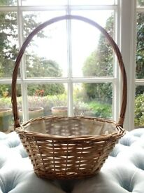 Long Handle Wicker Plant Basket Planter