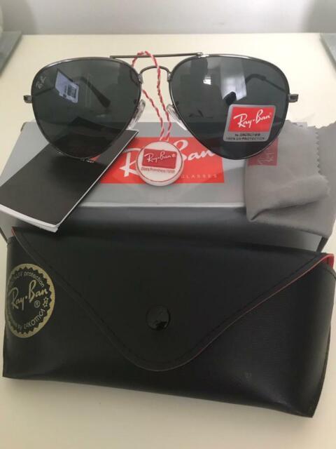 25984bfdf964 PayPal accepted ray ban aviators sunglasses gunmetal frame black lens BNIB  Rayban