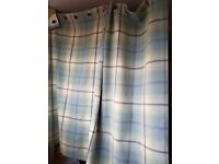 Large window curtains tartan duck egg blue