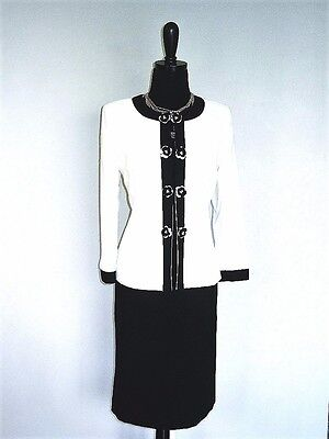 NEW $$$ TAHARI 2PC SKIRT SUIT 6 CLOUD WHITE BLACK FLOWERS PEARLS STYLISH CHIC!