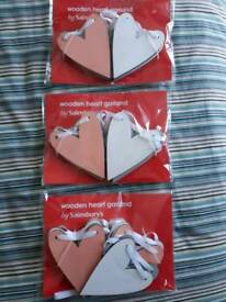 Cute wooden heart bunting