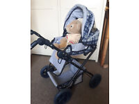 Large doll toy buggy / pram / push chair with carry cot