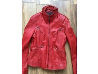 Vintage style red leather jacket