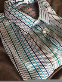 "Stunning, Striped Ted Baker (5) Long Sleeve Designer Shirt, XL (45"" chest)."
