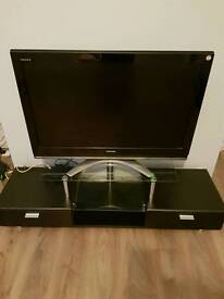 Tv unit glass and black wood with storage