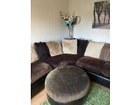 Large Corner Sofa with Poufee