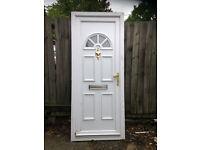 White UPVC door with glass fanlight,