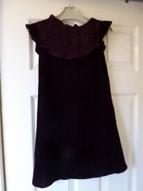 Next purple girls dress with lace round collar