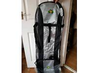 Job lot of golf travel bags with wheels and bottom grip.