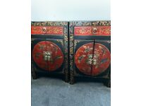 Beautiful Chinese inspired Bedside Cabinets (Pair)