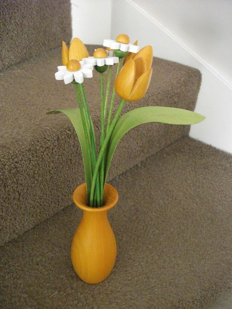 Wooden flowers tulips and daisies in wooden vase handcrafted in wooden flowers tulips and daisies in wooden vase handcrafted reviewsmspy