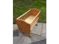 wooden crib for baby with mattress