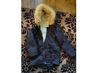 Minoti Parka Style Winter Coat, Navy, Age 5-6yrs