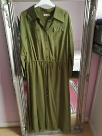 Khaki green maxi dress, great quality. In great condition. Size 14-16. £12.