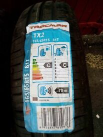 Two car tyres new, never been fitted. Size 165 / 65 / 15