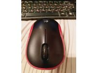 LOGITECH M185 Wireless Optical Mouse - Black & Red