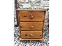 SOLID PINE WOOD BEDSIDE DRAWERS TABLE CABINET *SHABBY CHIC* D38 X W46 X H60 CM