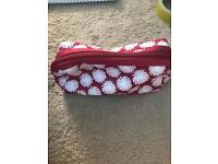 Red and white toiletry/ makeup bag/ pencil case