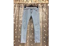 Men's TOPMAN light blue spray on skinny jeans, size 32S