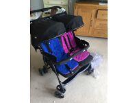 Double pram stroller