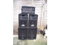 PA WITH 4 SPEAKERS AND LEADS