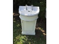 Small white Heritage vanity unit (50cm X 94cm) with matching toilet. Two identical sets available.