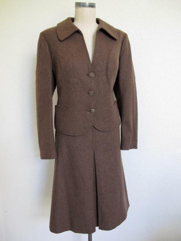 Vintage Volksechte Trachten Suit 46 US 14 Brown Wool Skirt Jacket Horn Buttons