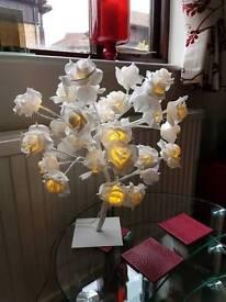 NEXT white rose flower table lamp