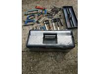 Welding clamps and tool box.