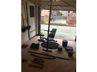 Men's health active+ folding workout bench and weights