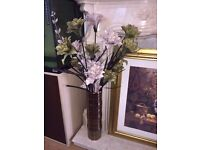 2 BEAUTIFUL LARGE VASES WITH FLOWERS