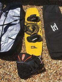 Naish Prodigy 138 kiteboard. Plus bags and cabrinha waist harness