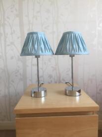 Duck egg blue bedside lamps x2
