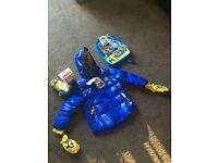 Minion jacket, bag pack, bubble bath and sweets