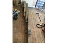 Reclaimed Victorian pitch pine floor boards 119mm x 19mm x 15 sqM. £20 per sqM.
