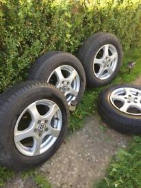 VW alloys and tyres in very good condition