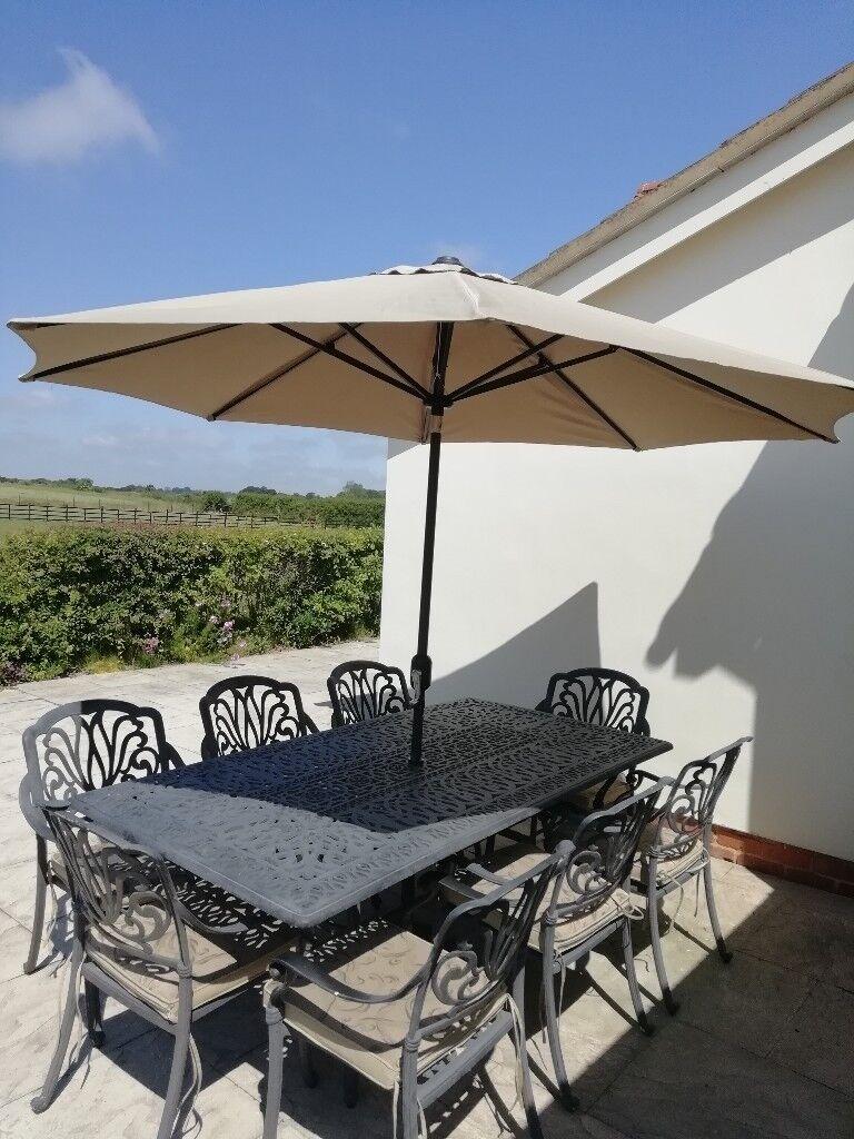 8 seater metal garden furniture set