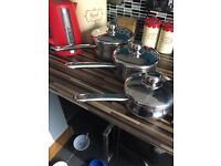 2 sets of saucepans