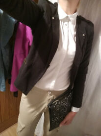 Blazer, formal shirt, trousers and handbag!