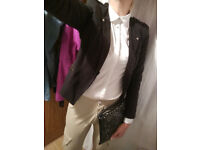 Blazer, formal shirt, trousers and handbag!