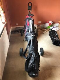 Full set of hippo golf clubs with golf bag and wheel stand