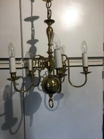 Vintage Brass 5 arm Chandelier mid 20th century.