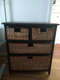 Small wood drawers unit with woven seagrass drawers