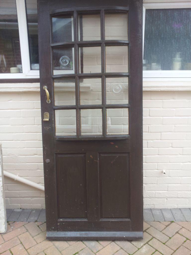 Wooden Door With Rare Original Bullseye Glass Panels In
