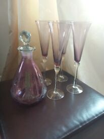 Pretty Purple/ Clear Glass Decanter and 4 flute Glasses