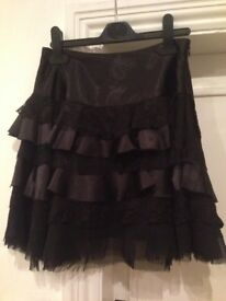 Black satin and lace party skirt
