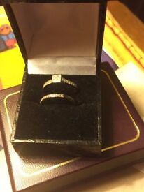 Beautiful Matching 10ct Gold 1/2 carot Diamond rings S1 clarity and half eternity ring.Stamped same.